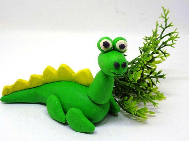 Динозавр пластилиновый картинка этих