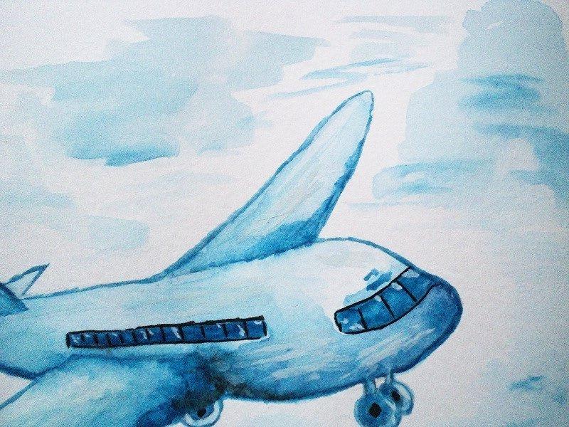 летящий самолет рисунок